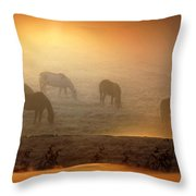 Foggy Morning Pasture Time Throw Pillow