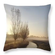 Foggy Morning With Nice View Throw Pillow
