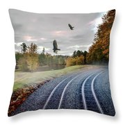 Foggy Nature Along The Train Tracks Throw Pillow