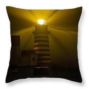 Foggy Night At West Quoddy Light Throw Pillow