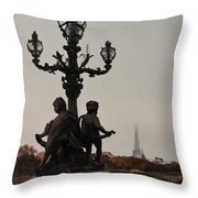 Foggy Paris Afternoon Throw Pillow
