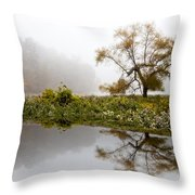 Foggy Reflections Landscape Throw Pillow