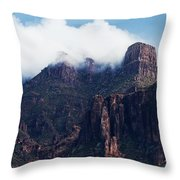 Foggy Superstition Mountains   Throw Pillow