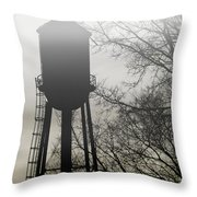 Foggy Tower Silhouette Throw Pillow