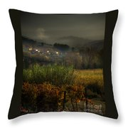 Foggy Tuscan Valley  Throw Pillow