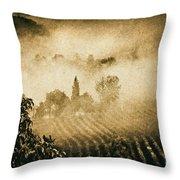 Foggy Tuscany Throw Pillow