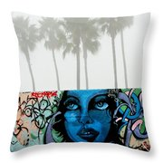 Foggy Venice Beach Throw Pillow