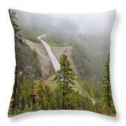 Foggy View From Icefields Parkway Throw Pillow