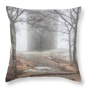 Foggy View Of The Summit Of Mount Battie Throw Pillow