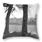 Foggy Waters Bw Throw Pillow