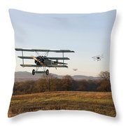 Fokker Dr1 - Day's End Throw Pillow by Pat Speirs