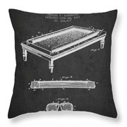 Folding Billiard Table Patent From 1887 - Charcoal Throw Pillow