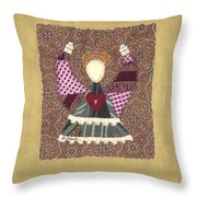 Folk Angel Throw Pillow