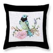 Folk Art Bird Embroidery Illustration Throw Pillow