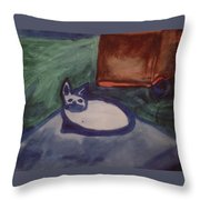 Folk Art Cat Throw Pillow