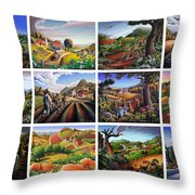 Folk Art Seasonal Seasons Sampler Greetings Rural Country Farm Collection Farms Landscape Scene Throw Pillow