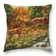 Whitetail Deer - Follow Me Throw Pillow by Crista Forest