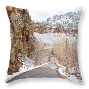Follow The Red Rock Ridge Winter Road  Throw Pillow