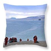 Following The Footsteps Of  Roald Amundsen.. Throw Pillow