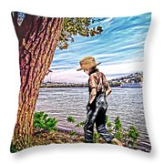Following The River Throw Pillow