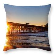 Folly Beach Pier At Sunrise Throw Pillow