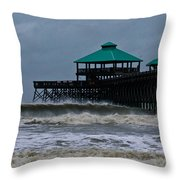 Folly Beach Pier During Sandy Throw Pillow