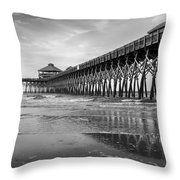 Folly Beach Pier In Black And White Throw Pillow