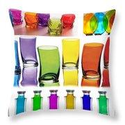 Food Coloring Ensemble Wide-rainbow Theme Throw Pillow