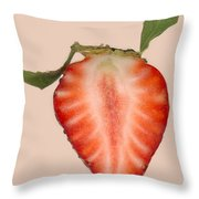 Food - Fruit - Slice Of Strawberry Throw Pillow by Mike Savad