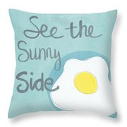 Food- Kitchen Art- Eggs- Sunny Side Up Throw Pillow by Linda Woods