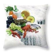 Food On Ice Throw Pillow
