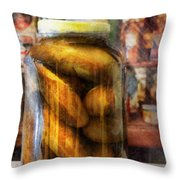 Food - Vegetable - A Jar Of Pickles Throw Pillow
