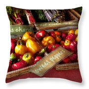 Food - Vegetables - Sweet Peppers For Sale Throw Pillow