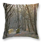 Foot Bridge In Fort Harrison State Park Throw Pillow