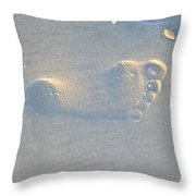 Foot Print In The Sand Throw Pillow