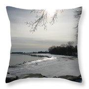 Foot Prints Along The Shore Throw Pillow