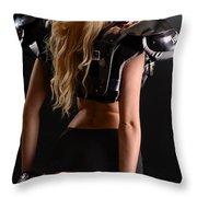 Football Girl Throw Pillow
