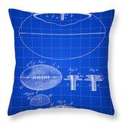 Football Patent 1902 - Blue Throw Pillow