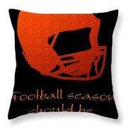 Football Season Should Be Year Round In Orange Throw Pillow by Andee Design