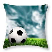 Football Soccer A Leather Ball On Grass Throw Pillow