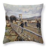 Footbridge At Argenteuil Throw Pillow