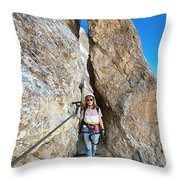 Footbridge On Via Ferrata Throw Pillow