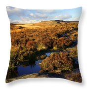 Footpath To Burbage Rocks Throw Pillow