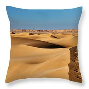 Footprints And 4x4 Offroad Car In Landscape Of Endless Dunes In Sand Desert  Throw Pillow