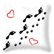 Sleep Walking The Dog Throw Pillow