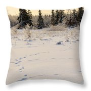 Footprints In Fresh Snow Throw Pillow
