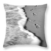 Footprints In The Sand Bw Throw Pillow