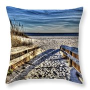 Footprint's In The Sand Throw Pillow