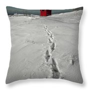 Footprints Leading From The Lighthouse Big Red During Winter Throw Pillow