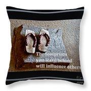 Footprints Left Behind Throw Pillow